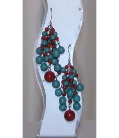 Boucles d'Oreilles en Turquoise et Corail.