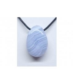 Calcédoine bleue - Pendentif Pierre percée