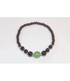 Bracelet en Hématite (Agate verte 10mm)