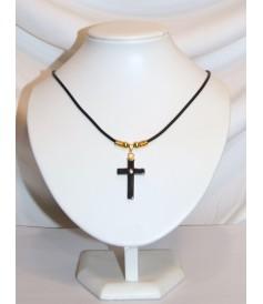 Croix en Hématite avec strass et cordon