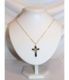 Croix en Hématite avec Christ
