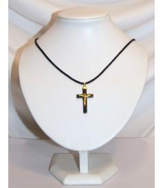 Croix en Hématite avec Christ monté sur cordon