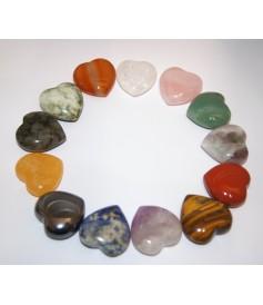 Cœurs Polis en Minéraux Divers